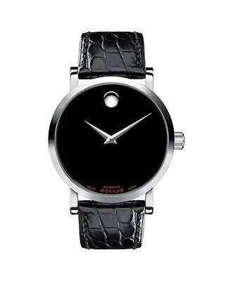 *BRAND NEW* Movado Men's Red Label Black Dial Alligator Strap Watch 0606112