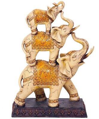 Elefanten Set Elfenbeinfarbe 30 cm Figur Skulptur Deko 134