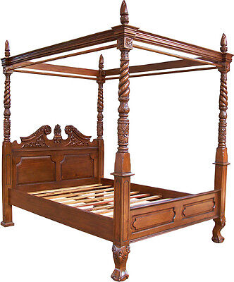Reproduction Mahogany Queen Anne Style 4 Poster 5' King Size Canopy Bed New