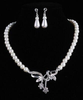 Set Collier e Orecchini Perle Collana di Strass Fiori Accessori da Sposa Nuovo