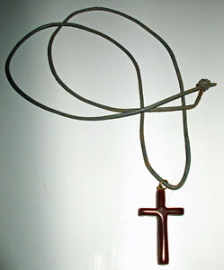 For Sale CATLINITE or (PIPESTONE) CROSS on LEATHER LACE