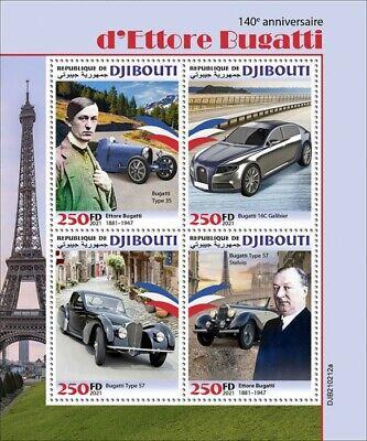 Djibouti 2021 MNH Cars Stamps Ettore Bugatti Type 35 16C Galibier 4v M/S