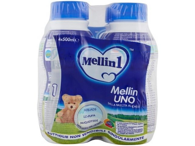 Mellin Latte 1 Liquido per Neonati Confezione da 4 Bottiglie da 500 ml