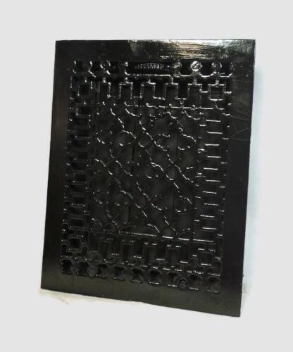 ANTIQUE BLACK CAST IRON HEATING GRATE UNIQUE ORNATE DESIGN 13.75 X 11