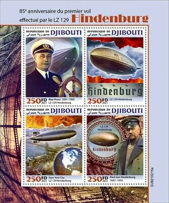 Djibouti 2021 MNH Aviation Stamps Zeppelins LZ 129 Hindenburg 1st Flight 4v M/S