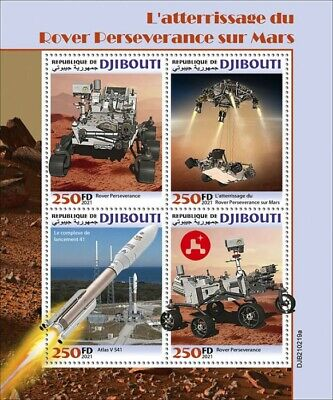 Djibouti 2021 MNH Space Stamps Rover Perseverance Mars Landing 4v M/S