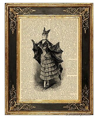 Victorian Bat Girl Costume Art Print on Vintage Book Page Home Halloween Decor