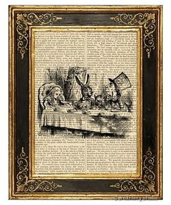 Alice-in-Wonderland-Art-Print-on-Antique-Book-Page-Vintage-Illust-Mad-Tea-Party