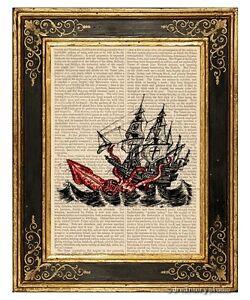 Vintage Kraken Illustration Attack-of-Kraken-Art-Print