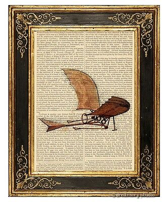 Da Vinci's Flying Machine Art Print on Vintage Book Page Office Home Decor Gifts Da Vinci Flying Machine