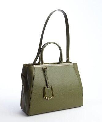 New Fendi Women's Olive Leather '2jours' Convertible Tote/Handbag  FREE SH