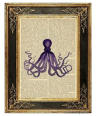 Purple Octopus #11 Art Print on Antique Book Page Vintage Illustration Tentacles