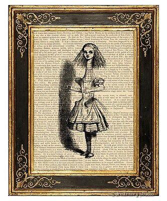 Alice in Wonderland Art Print on Antique Book Page Vintage Illust Long Neck