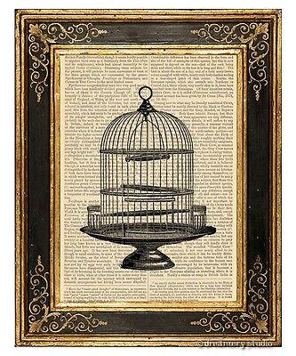 Round Birdcage Art Print on Vintage Book Page Vintage Bird Cage Home Decor Gifts