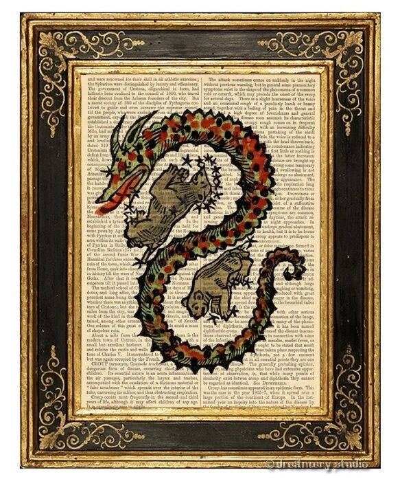 Draco The Dragon #1 Art Print on Vintage Book Constellation Home Decor Gifts