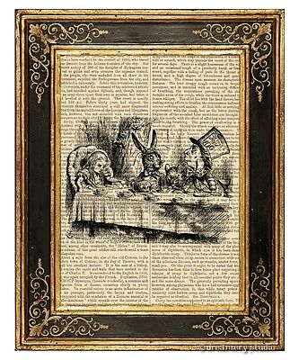 Alice in Wonderland Art Print on Antique Book Page Vintage Illust Mad Tea Party