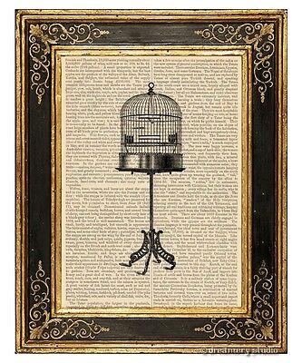 Birdcage on Stand Art Print on Antique Book Page Vintage Illustration Bird Cage