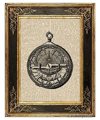 Arabic Astrolabe Art Print on Vintage Book Page Home Interior Decor Gifts ()