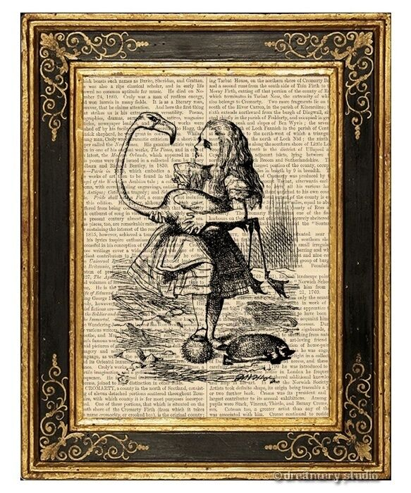 Alice in Wonderland Art Print on Vintage Book Page Story Book Adventure Flamingo