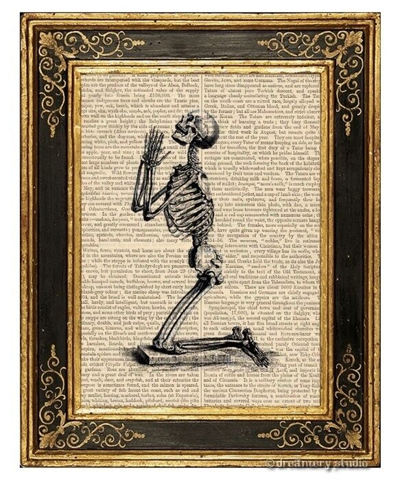 Praying For Immortality Art Print on Vintage Book Page Home Anatomy Decor Gifts