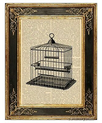 Square Birdcage Art Print on Vintage Book Page Bird Cage Home Decoration Gift