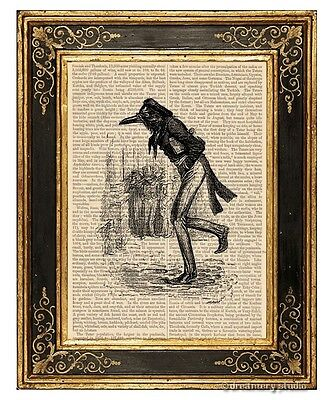 Raven Gentleman Art Print on Antique Book Page Vintage Illustration Crow Bird
