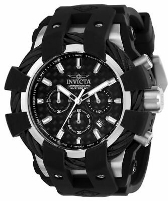 MENS INVICTA BOLT 23855 BLACK SILICONE BAND S/STEEL CASE CHRONOGRAPH WATCH