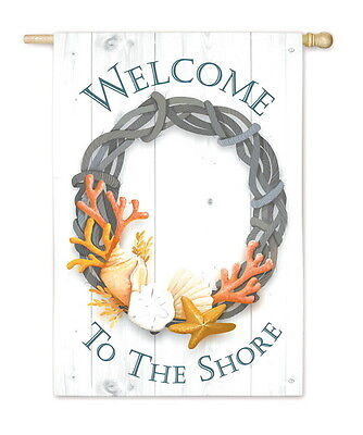 Wreath Decorative Flag - Summer Welcome To The Shore Beach Starfish Shell Coral Wreath Decorative Flag