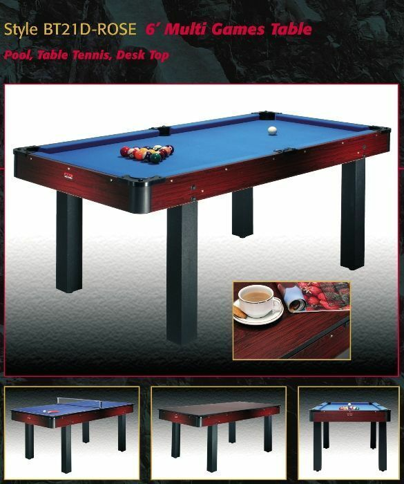 BCE 6ft Pool Table / Table Tennis / Study or Dining Table -  Multi Games Table