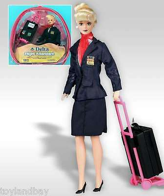 """Flight Attendant Doll Delta Airlines 11"""" Doll Blond w/ Backpack  Accessories New"""