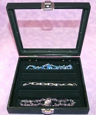 Necklacebracelet Glass Top Jewelry Display Case Blk