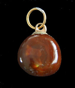Fire Agate Pendants on a 3mm Leather Thong For Sale