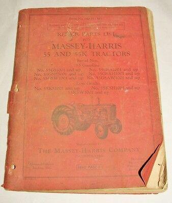 Massey Harris 55 55k Tractors No. 690 013 M5 Repair Parts List