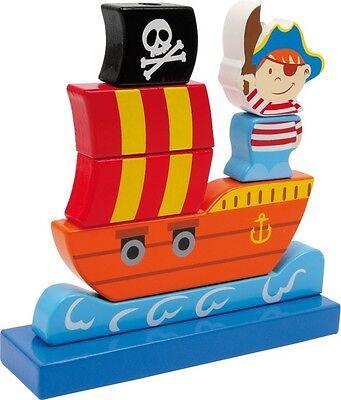 Steck Piratenschiff für Kinder Holz Stapelspiel Piraten Steckspiel - Piraten Spielzeug Für Kinder