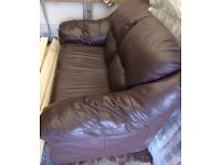 Two Seater Very Comfy Brown Leather Sofa