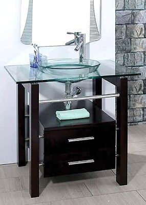 """28"""" Bathroom Tempered Clear Glass Vessel Sink & Vanity Cabinet w/ Faucet xd039"""