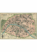 Vintage Map of Paris