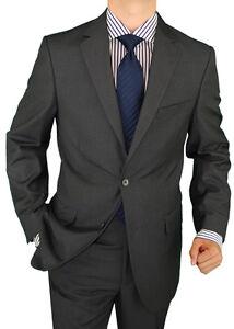 Salvatore-Exte-Wool-Feel-Mens-Suit-2Button-Flat-Front-Pants-DC-D003-Charcoal