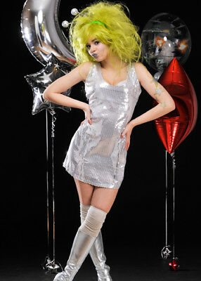 Alien Girl Costume (Womens Silver Sequin Space Girl Alien)
