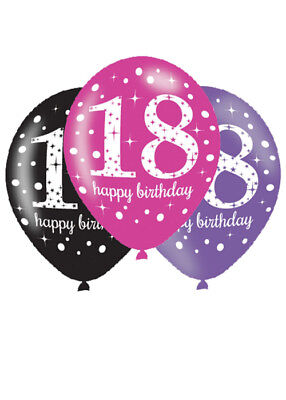 Pink and Black 18th Birthday Party Balloons Pk6 - Pink And Black Balloons