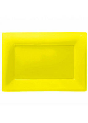 Yellow Plastic Party Serving Platters Pk3 - Plastic Party Platters