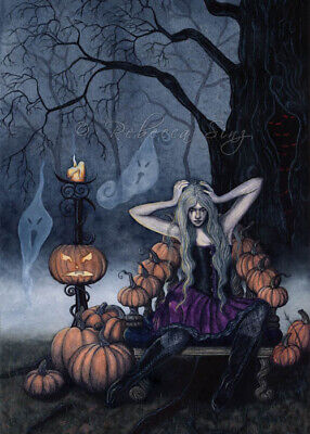 Gothic Halloween Fantasy Art PRINT Pumpkins Ghosts Queen Throne Dark Night](Halloween Art Pumpkins)