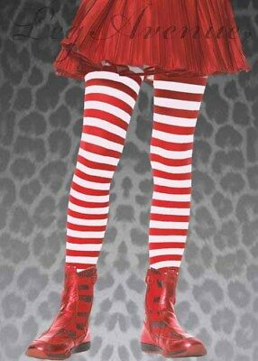 Childrens Red and White Striped Tights - Girls Red And White Striped Tights