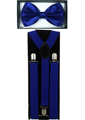 Ties And Suspenders (Royal Navy Blue SUSPENDERS and BOW TIE COMBO SET Adjustable Suspender)