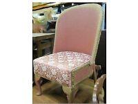 Genuine Vintage Dusty Pink & Gold Floral Lloyd Loom Style Wicker Chair