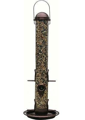 PineBush Metal 18 inch Tube Bird Feeder with Tray Antique Copper PINE07005