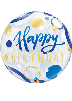 Blue and Gold Dots Happy Birthday Bubble Helium Balloon](Blue And Gold Balloons)