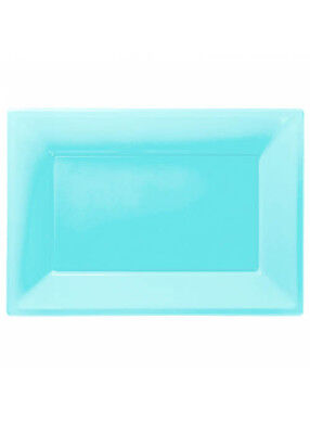 Turquoise Blue Plastic Party Serving Platters Pk3 - Plastic Party Platters