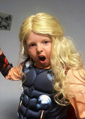 Childrens Size Long Blonde Thor Style Wig