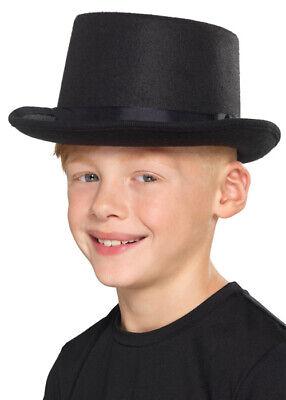 Child Size Top Hat (Kids Size Victorian Black Felt Top)